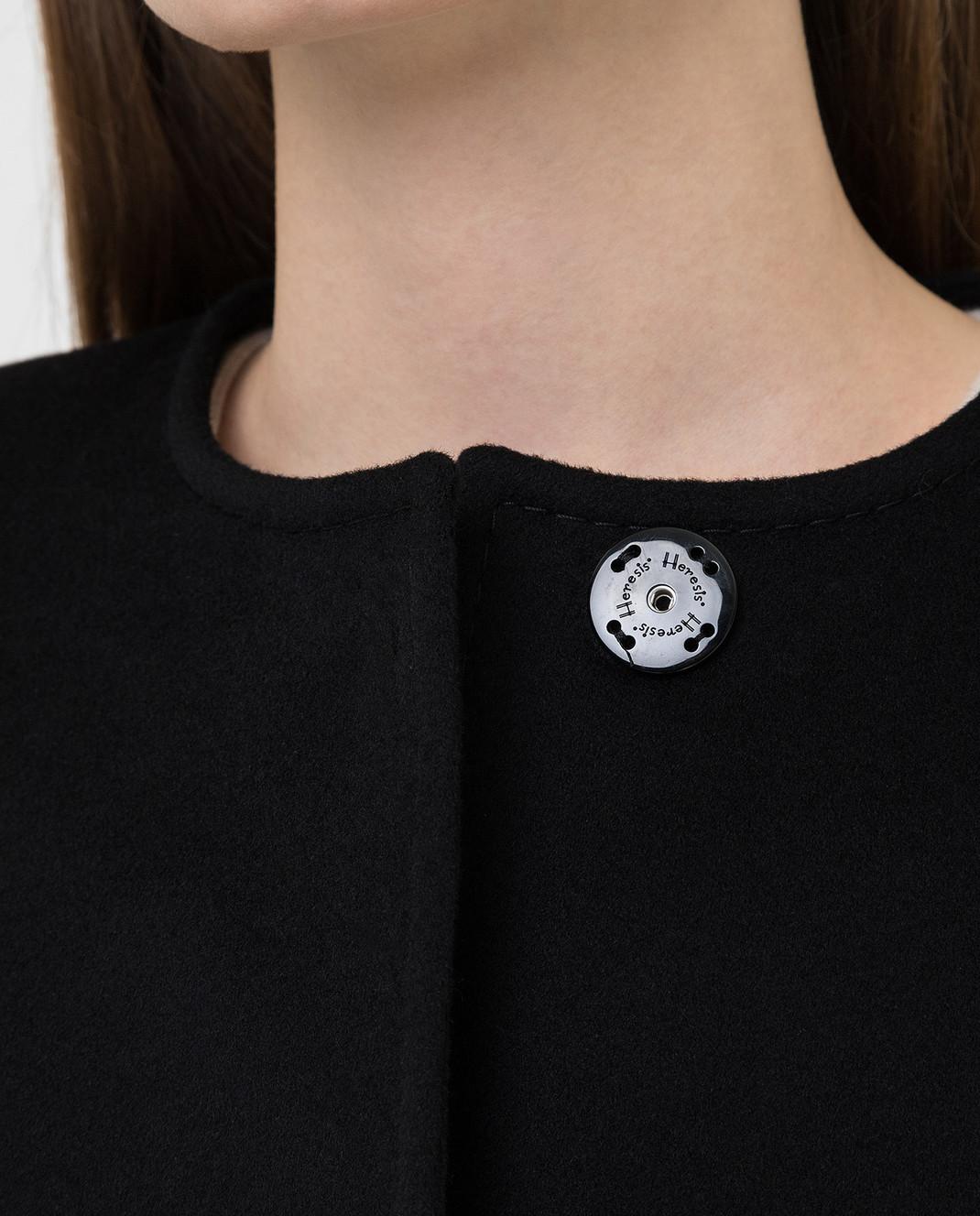 Heresis Черное пальто из шерсти D20M100SLIMG300 изображение 5