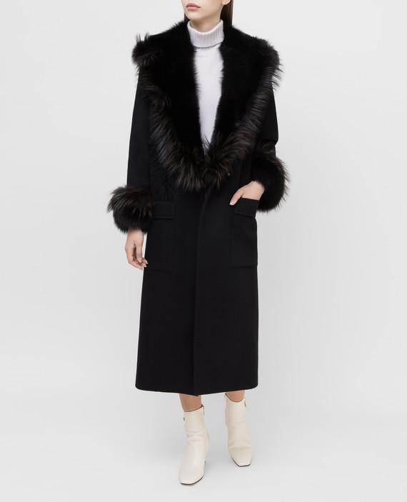 Черное пальто из кашемира с мехом лисы hover