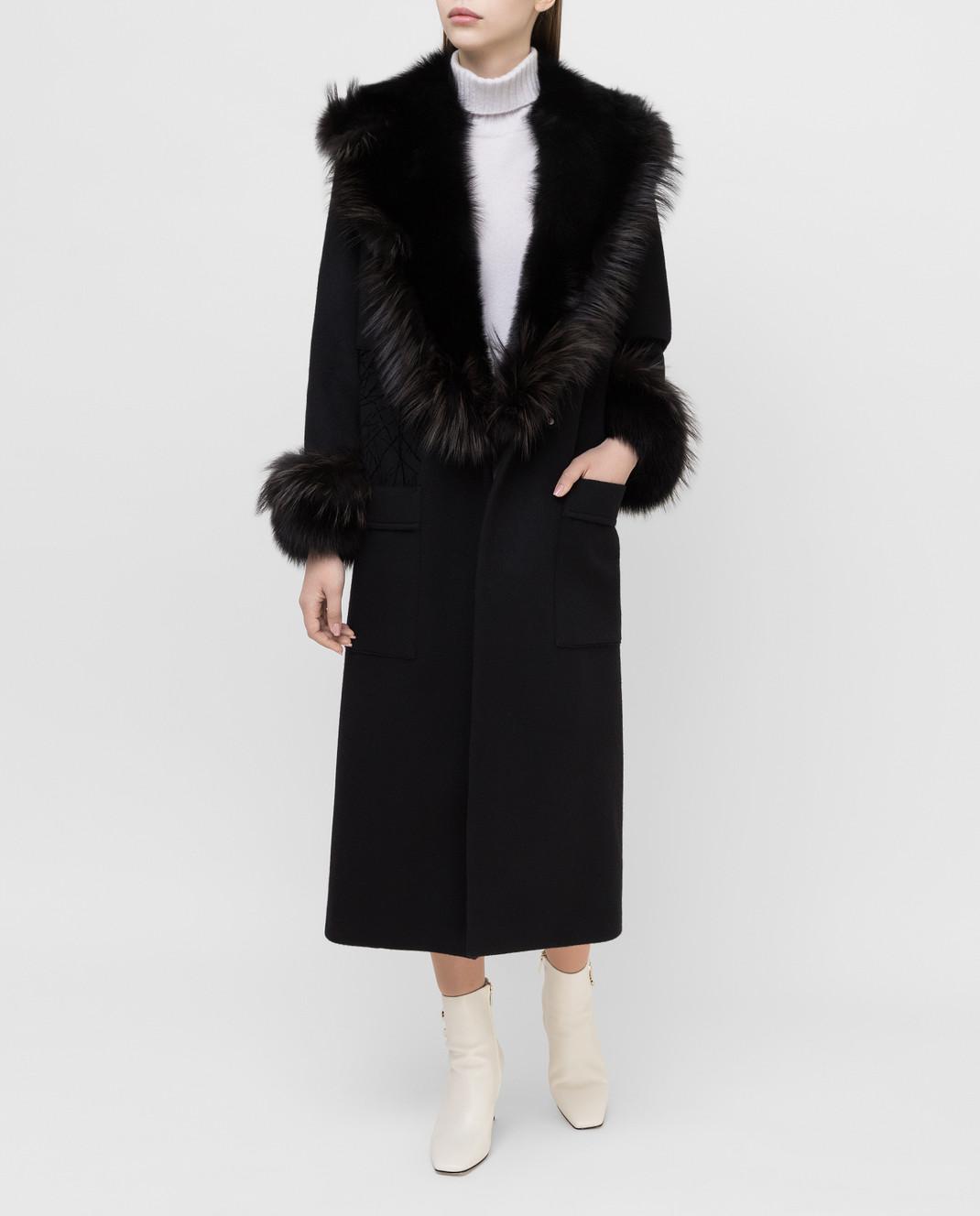 Rindi Черное пальто из кашемира с мехом лисы 277TE017 изображение 2
