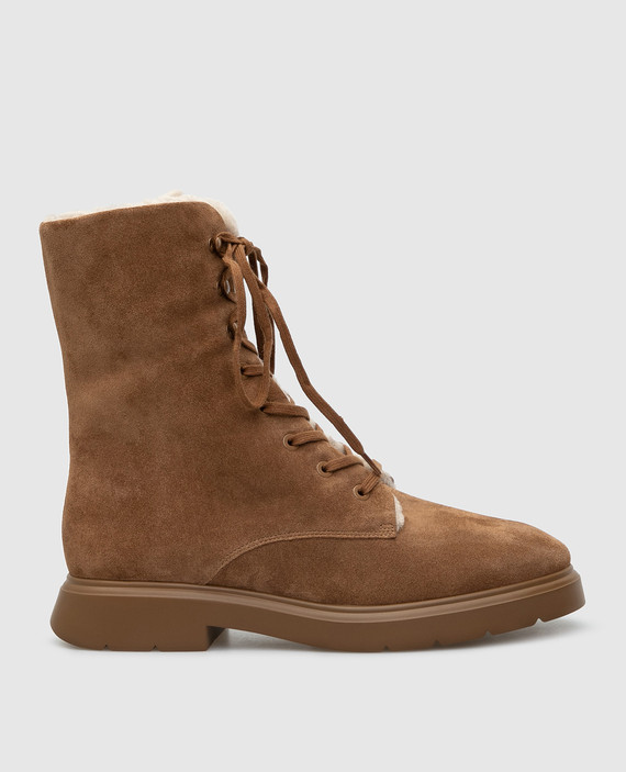 Коричневые замшевые ботинки на меху