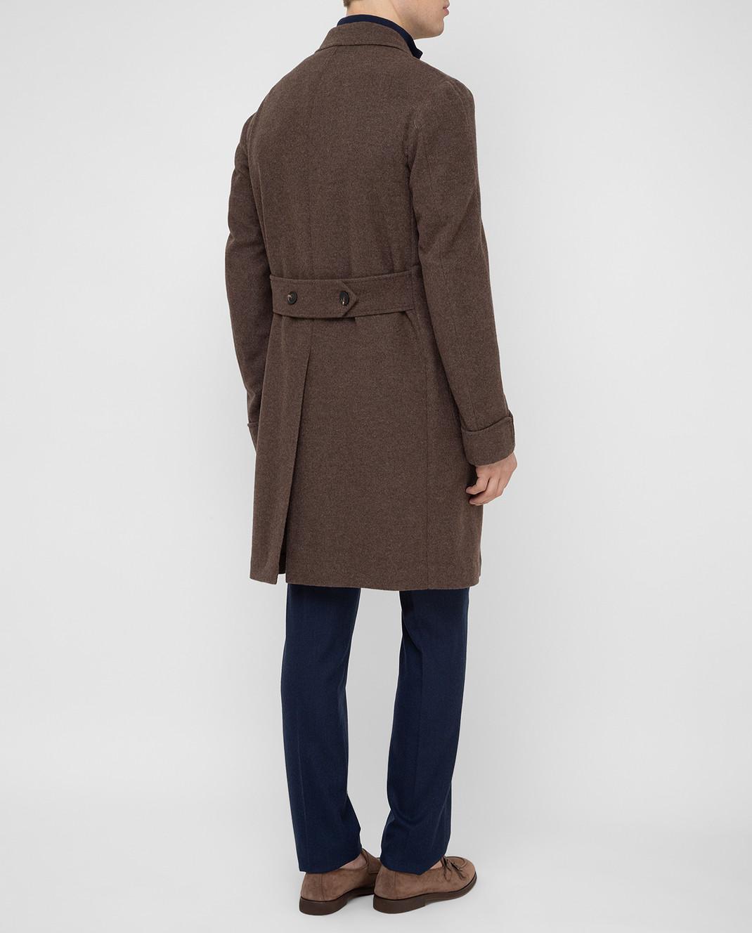 Stile Latino Коричневое пальто из шерсти и кашемира CUALFIO4592TMC20 изображение 4