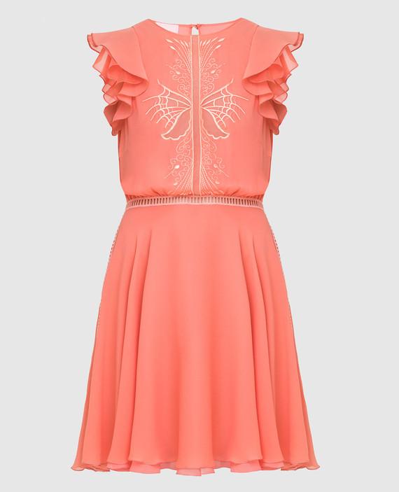 Коралловое платье из шелка