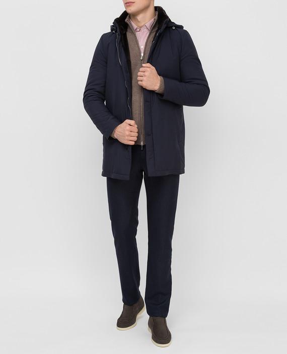 Темно-синяя куртка из шелка с мехом кролика и мехом бобра hover