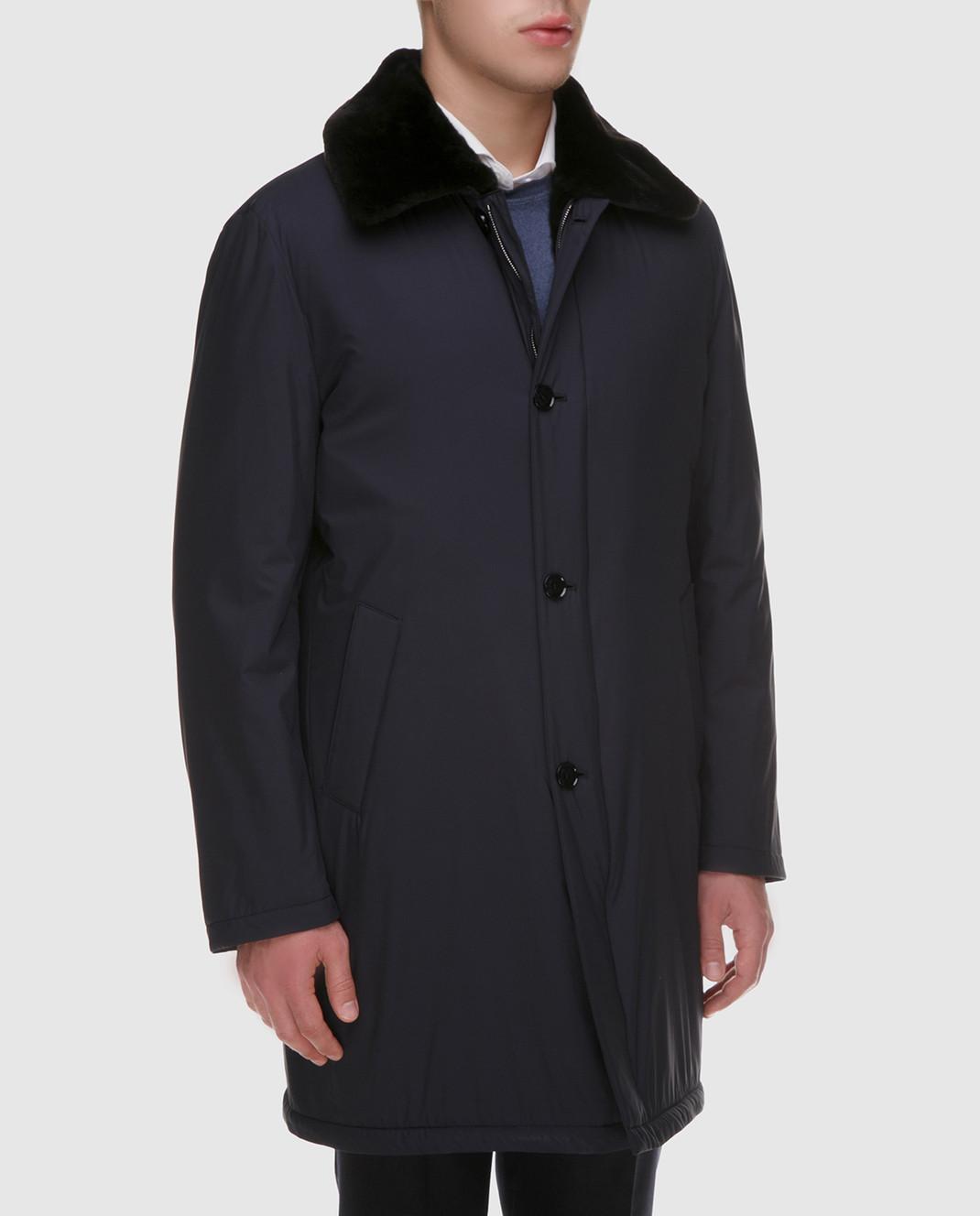 Enrico Mandelli Синее пальто из шелка со съёмным воротником из меха нутрии A6T766 изображение 3