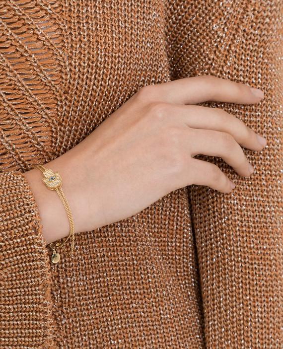 Золотистый браслет из латуни с кристаллами hover
