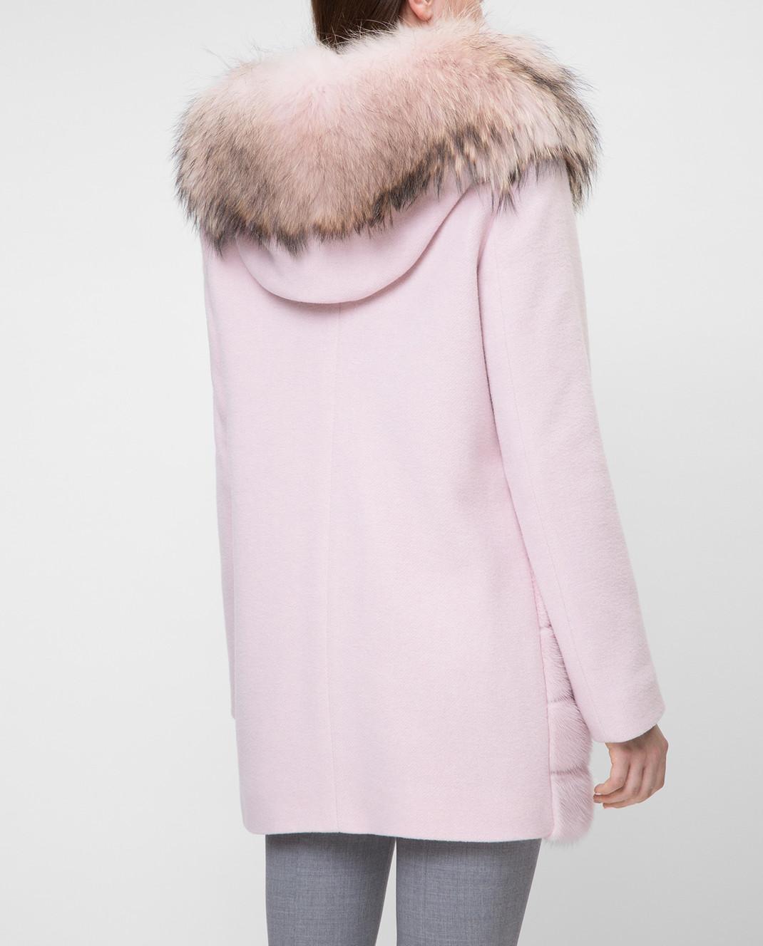 Real Furs House Розовое пальто с мехом енота 922RFH изображение 4