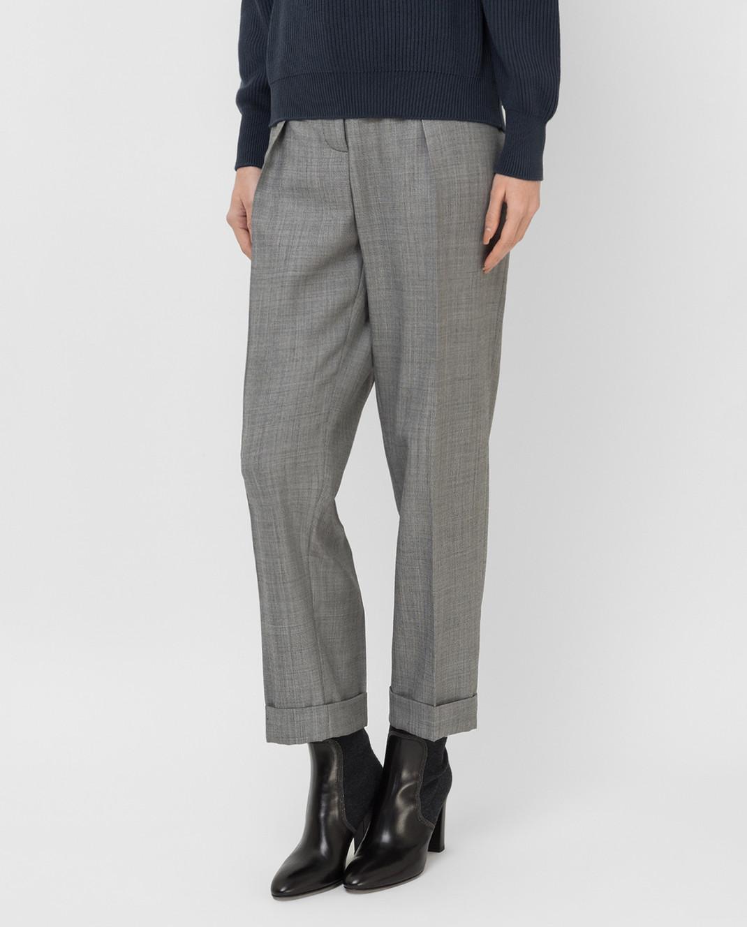 Victoria Beckham Серые брюки из шерсти TRTPR2600B изображение 3