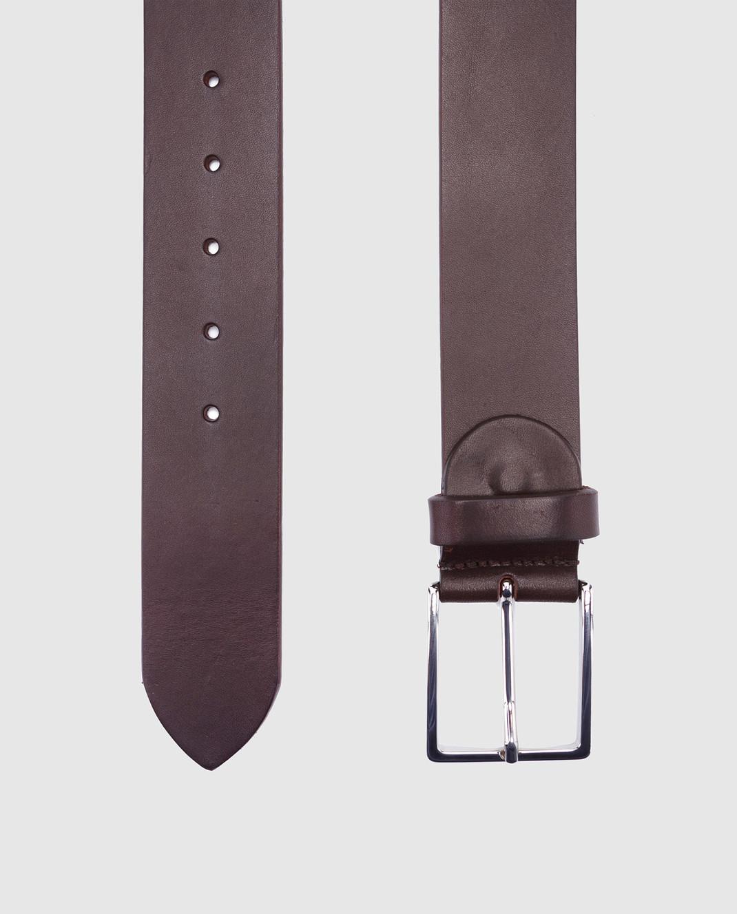 Bochicchio Темно-коричневый кожаный ремень 1011 изображение 3