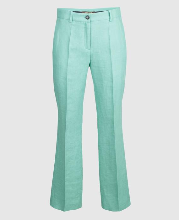 Мятные брюки из льна