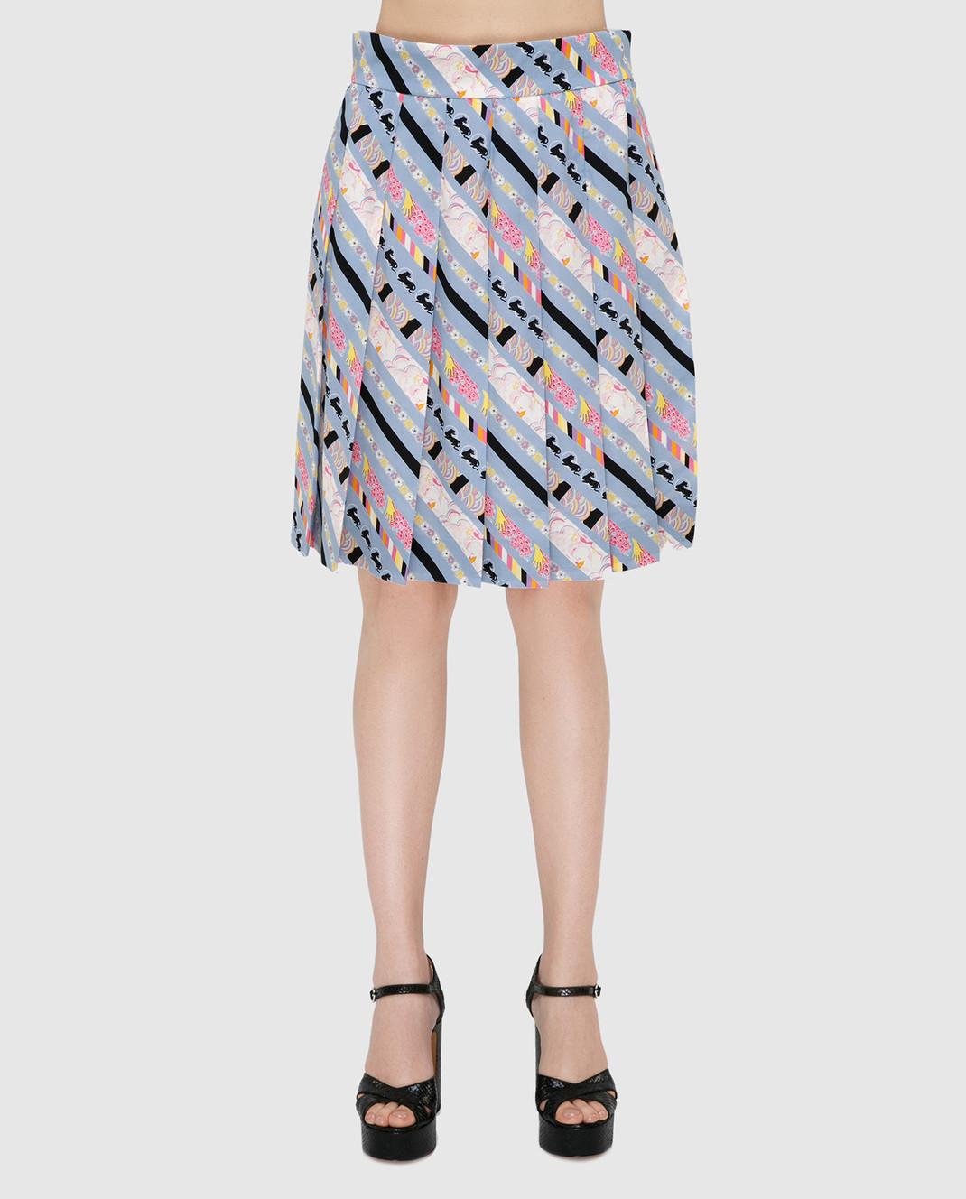Marc Jacobs Голубая юбка из шелка изображение 3