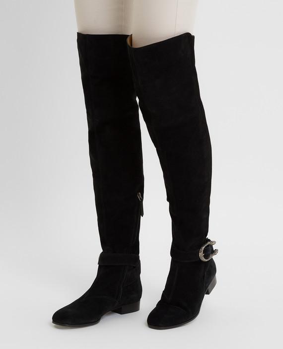 Черные замшевые ботфорты hover