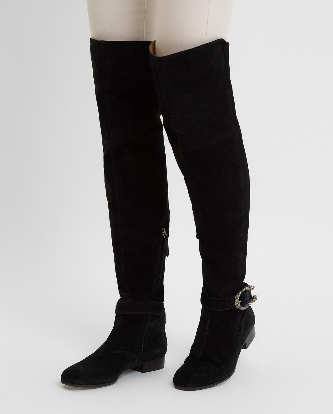 Gucci Черные замшевые ботфорты 432083CXZ10 изображение 2