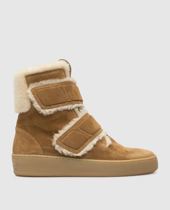 Бежевые замшевые ботинки на меху