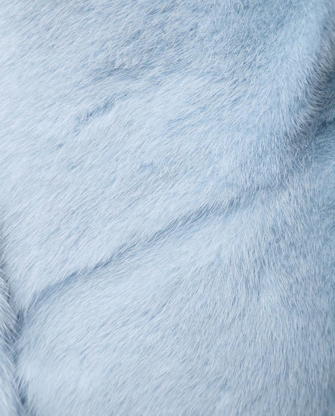 Florence Mode Светло-голубая шуба из меха норки с поясом 18N139PERLA изображение 5