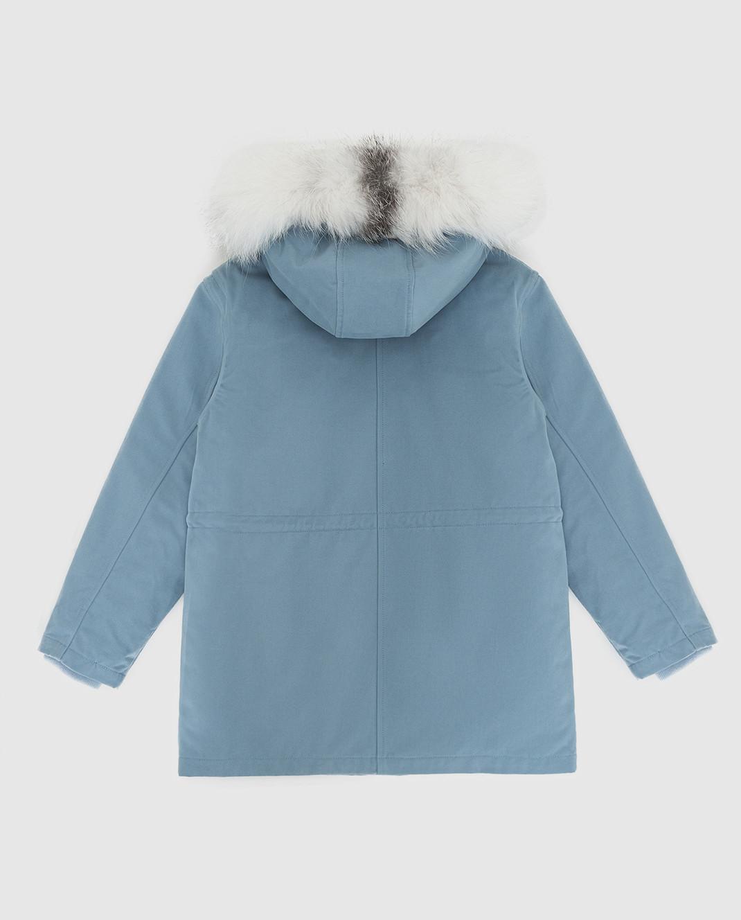 Yves Salomon Enfant Детская синяя парка с мехом лисы 20WEM004XXEM3X812 изображение 2