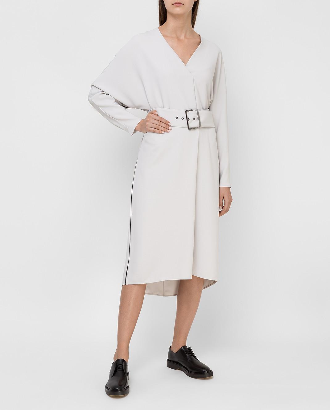Brunello Cucinelli Светло-серое платье изображение 2