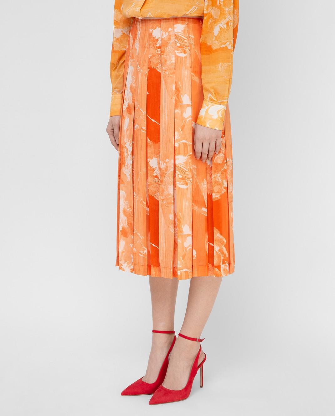 Victoria Beckham Оранжевая юбка SKMID3313 изображение 3