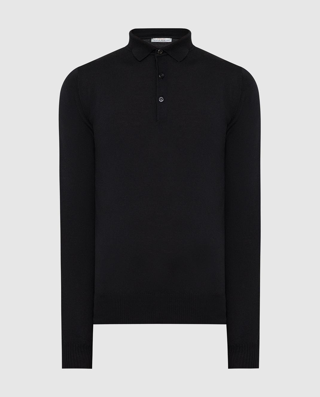 Fradi Черное поло из шерсти и кашемира изображение 1