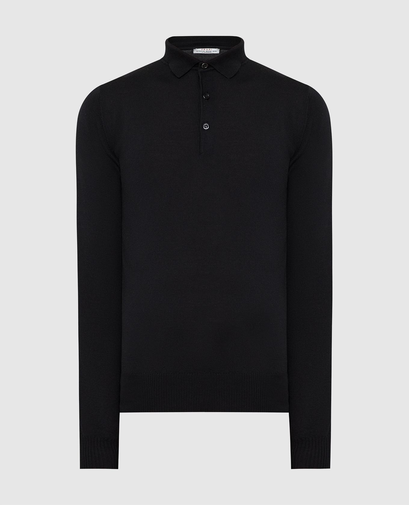 Черное поло из шерсти и кашемира