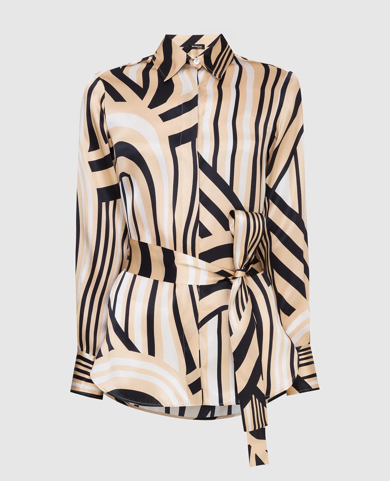 Светло-бежевая блуза из шелка Kiton