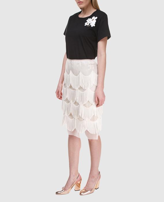 Бежевая юбка с бахромой hover