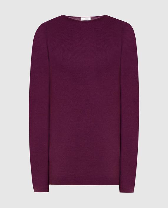 Фиолетовый джемпер из кашемира и шелка