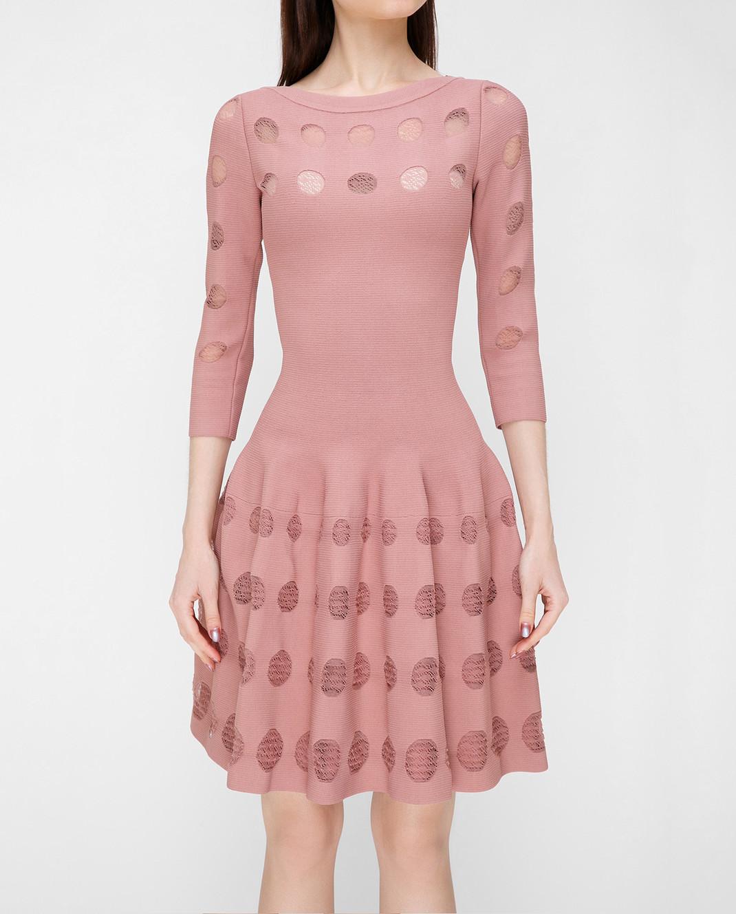 Azzedine Alaia Розовое платье с перфорацией изображение 3