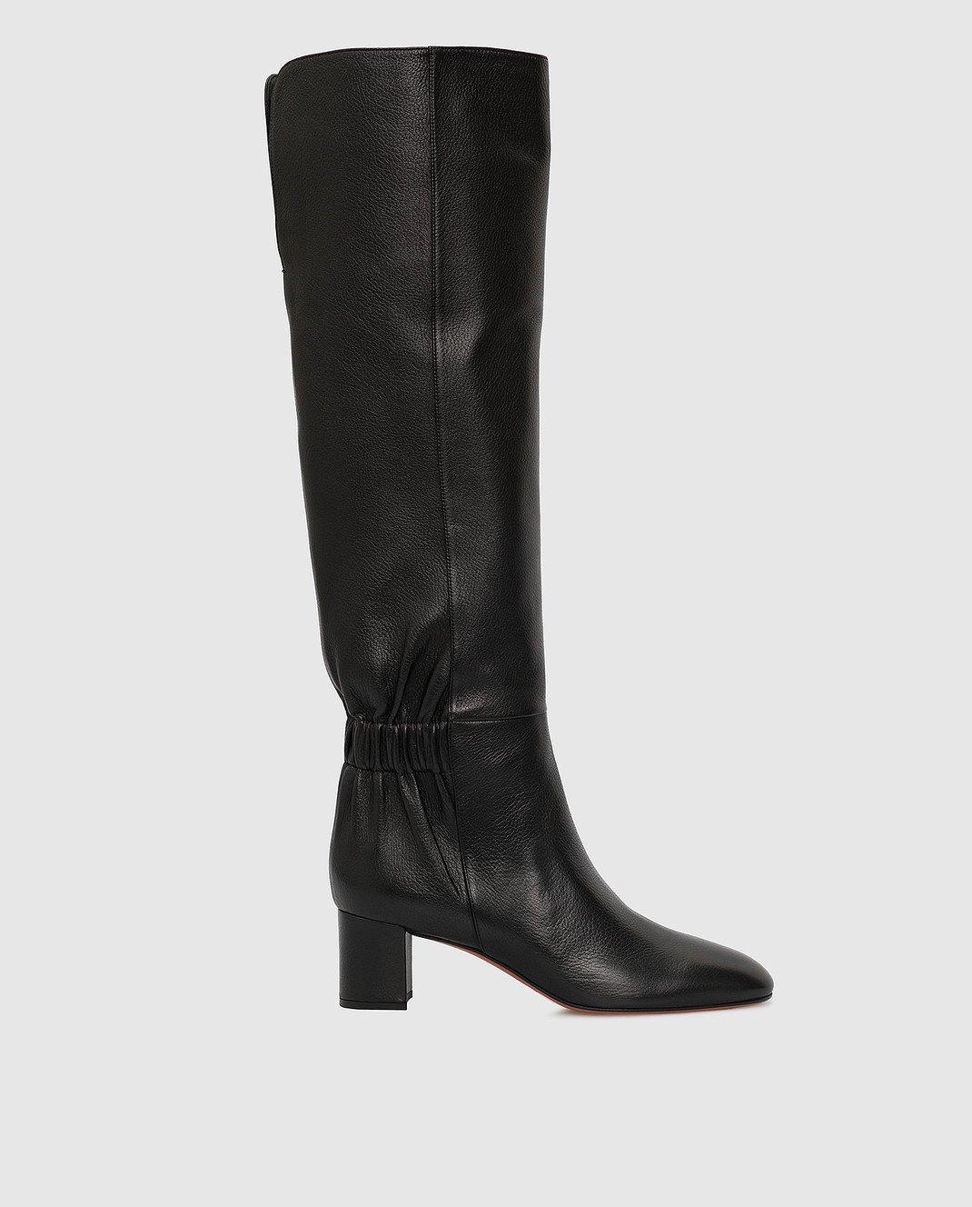 Santoni Черные кожаные сапоги изображение 1