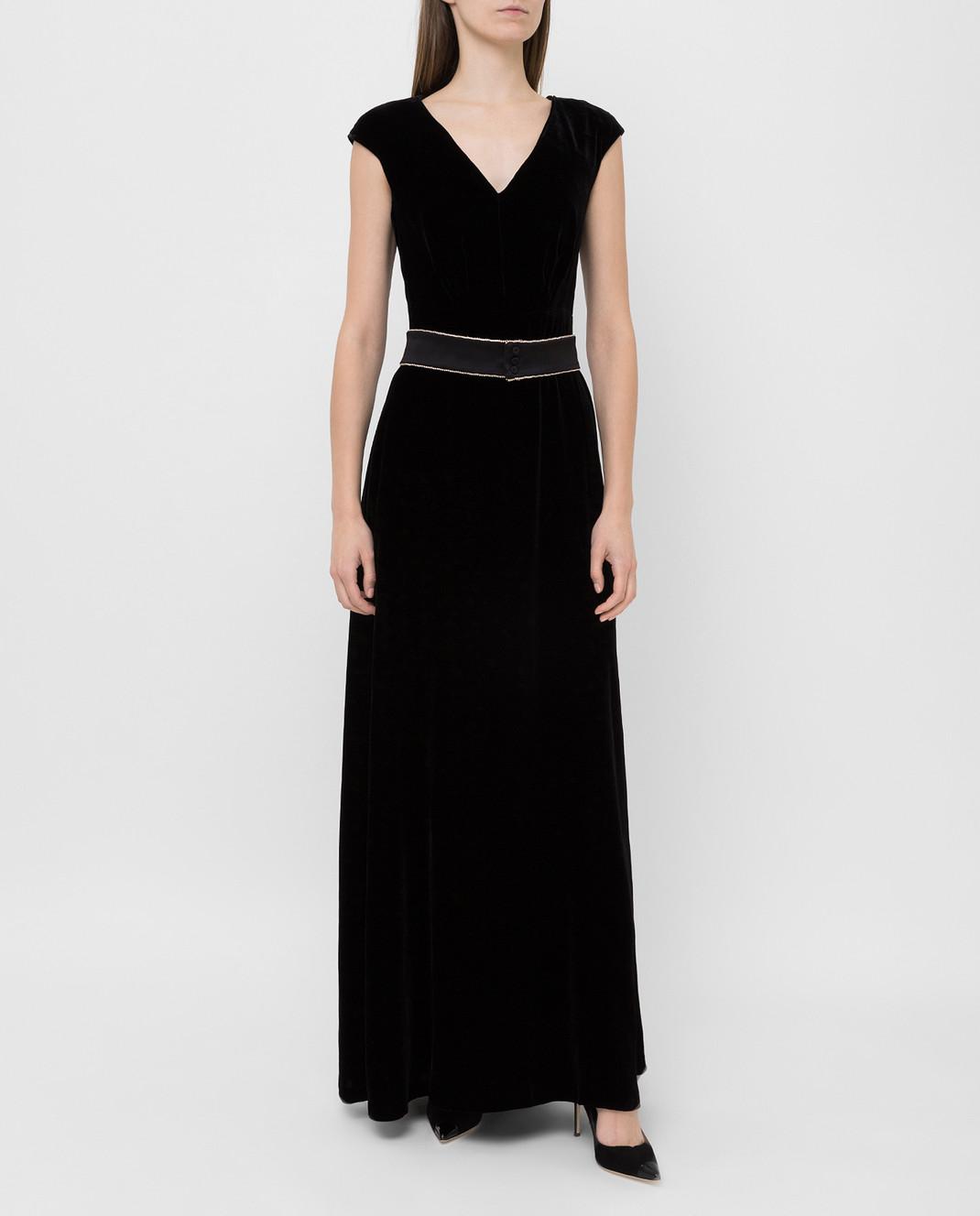 Max Mara Черное бархатное платье ASTRALE изображение 2