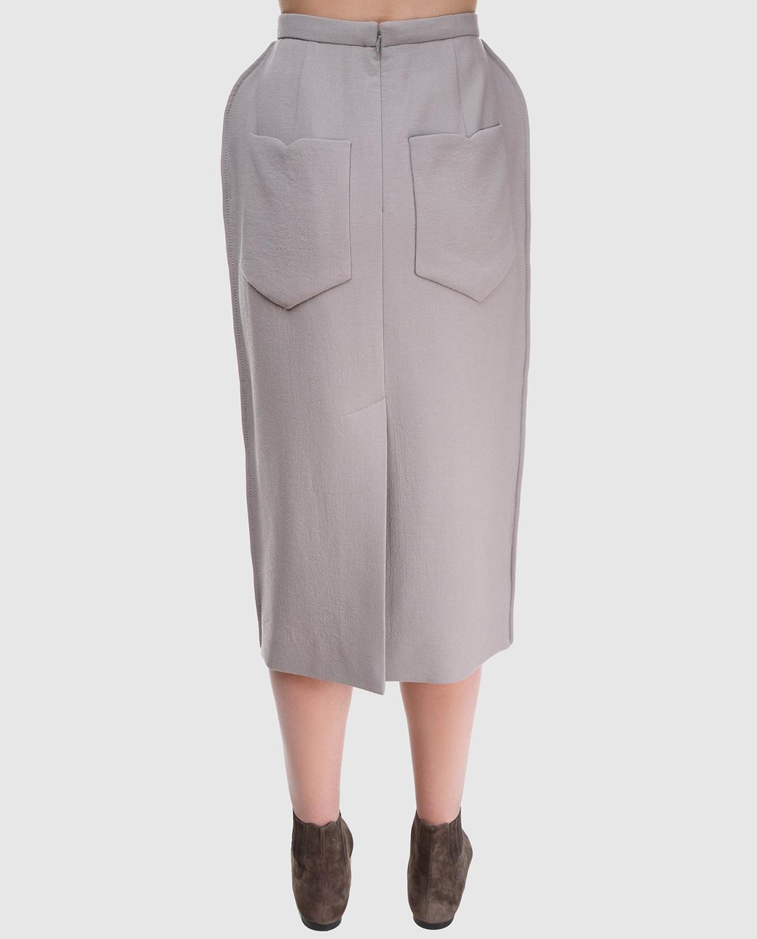 NINA RICCI Серая юбка 18PCJU005WV0230 изображение 4