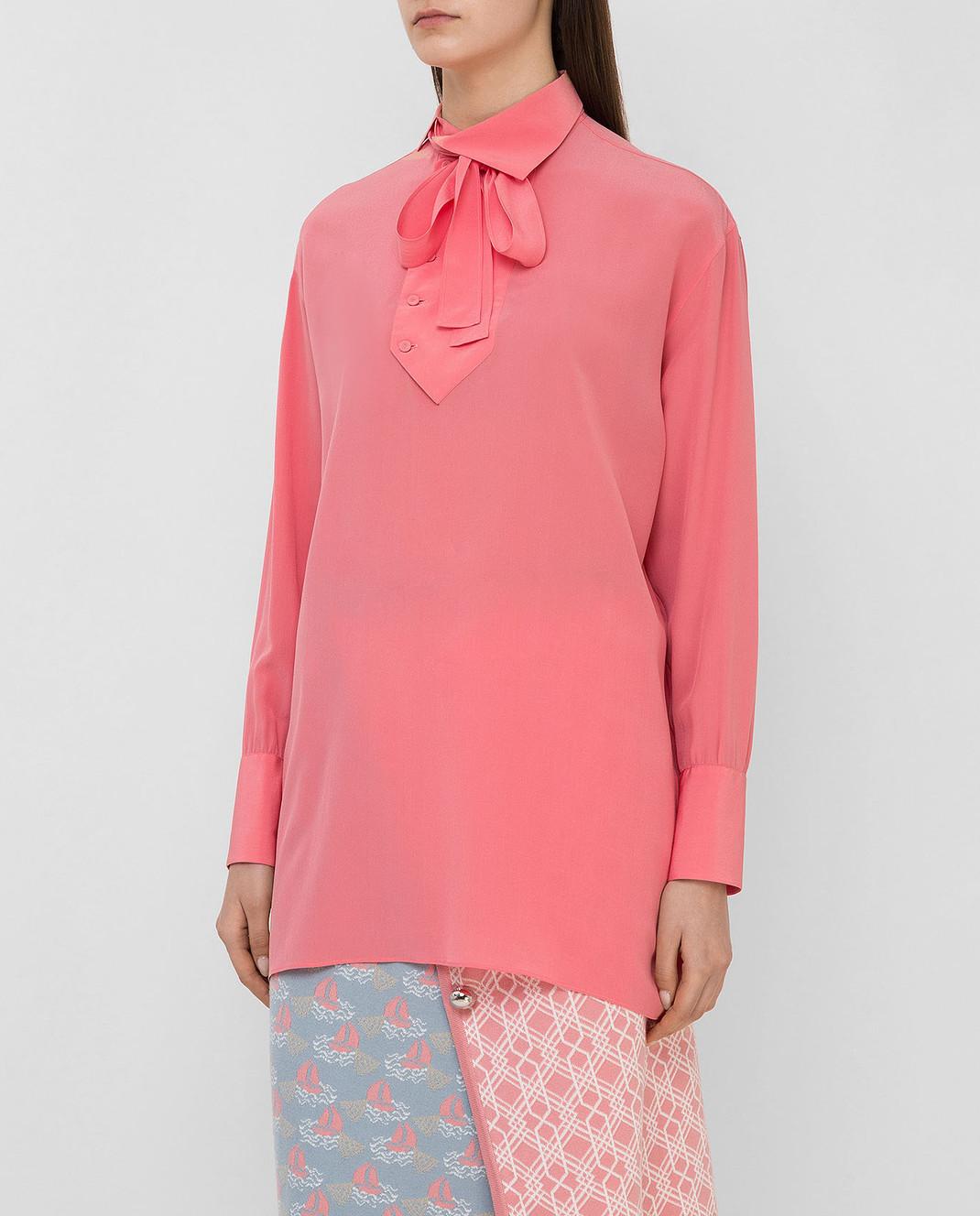 Valentino Коралловая блуза из шелка MB0AB08F21B изображение 3
