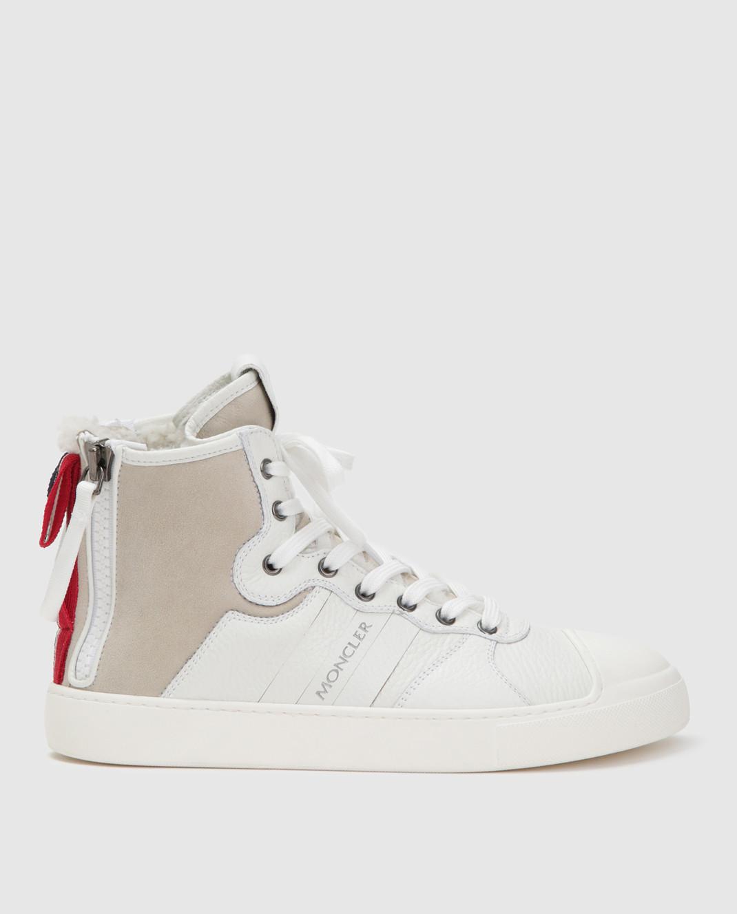 Moncler Белые кожаные хайтопы 20496