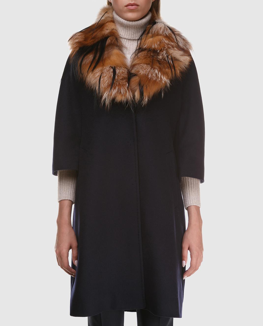 Heresis Пальто из шерсти со съемным воротником из меха лисы M3795FOX изображение 3