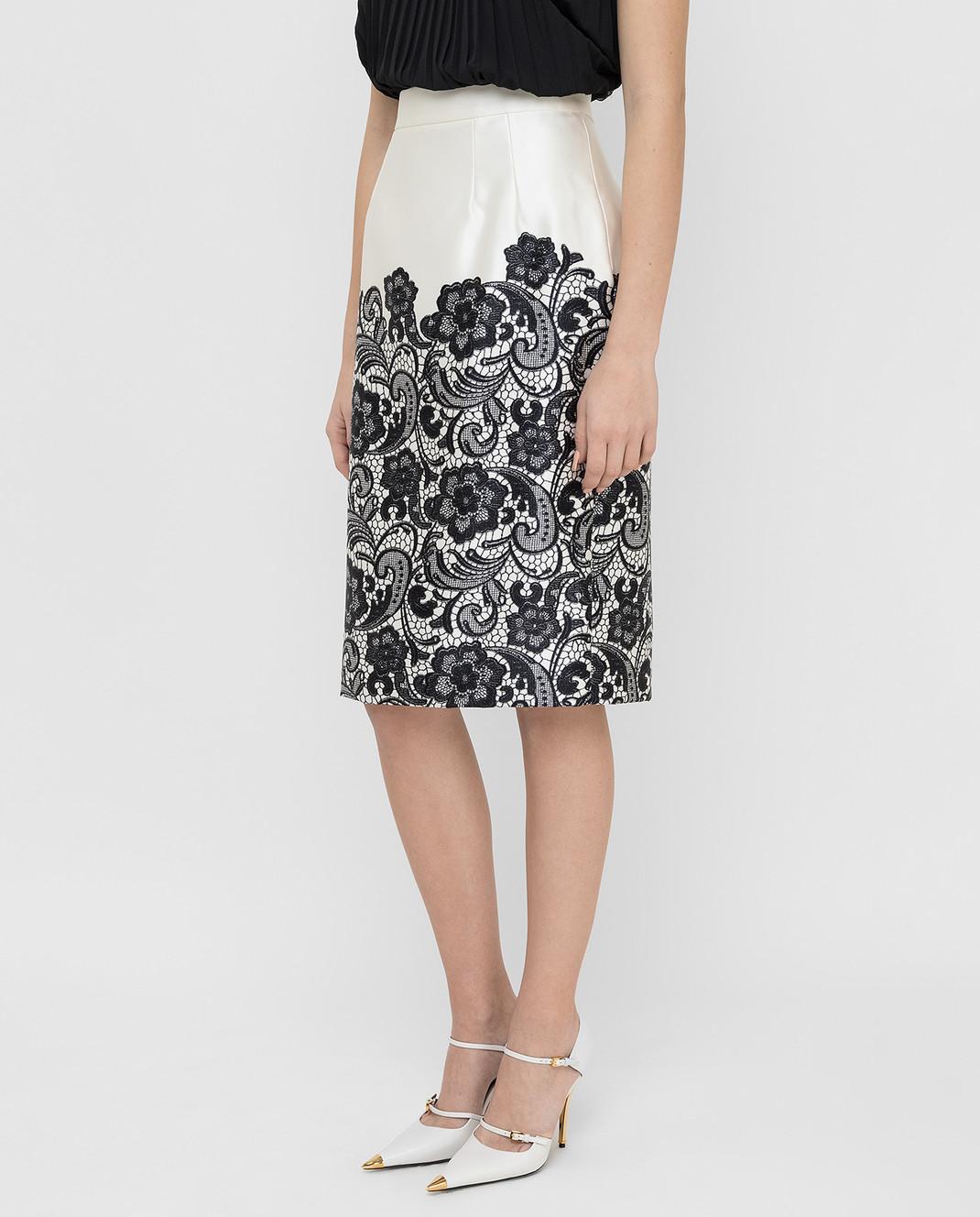 Dolce&Gabbana Светло-бежевая юбка из шелка F4T32TFS1YX изображение 3