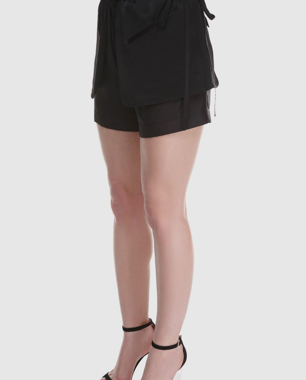 Valentino Черные шорты из шелка и хлопка PB0RF0N637C изображение 3
