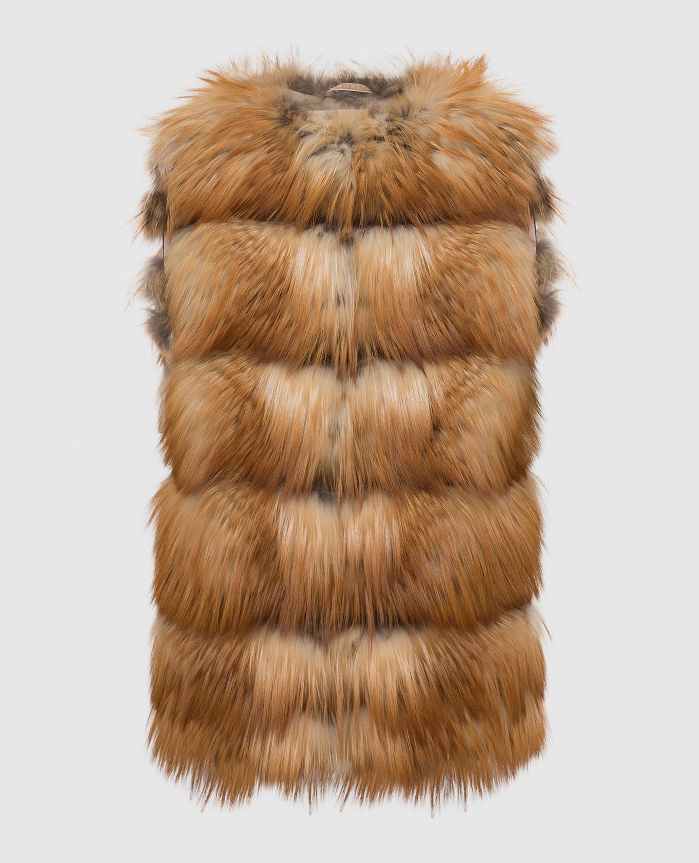 Оранжевый жилет из меха лисы