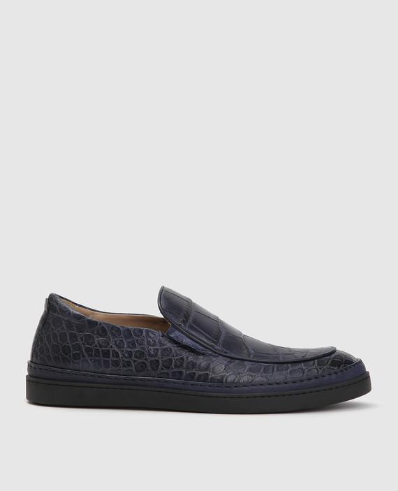 Синие туфли из кожи аллигатора