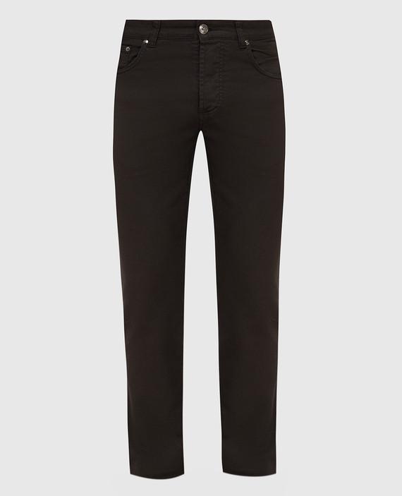 Темно-коричневые джинсы