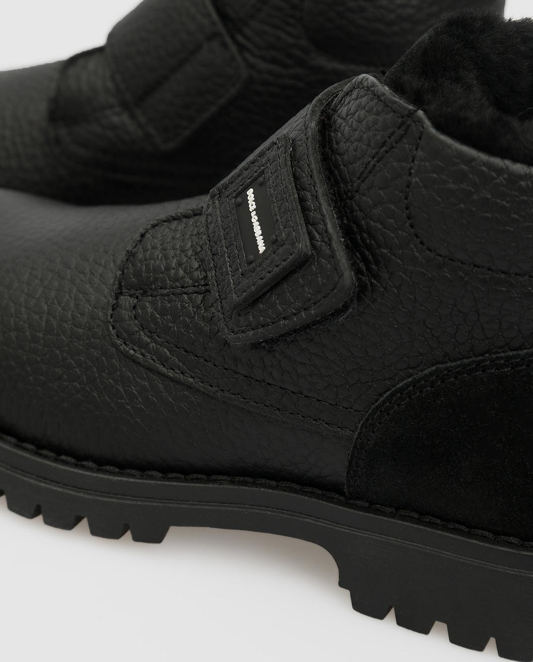 Dolce&Gabbana Детские черные кожаные ботинки на меху изображение 4
