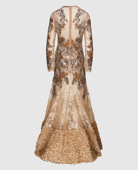 Вечернее золотистое платье hover