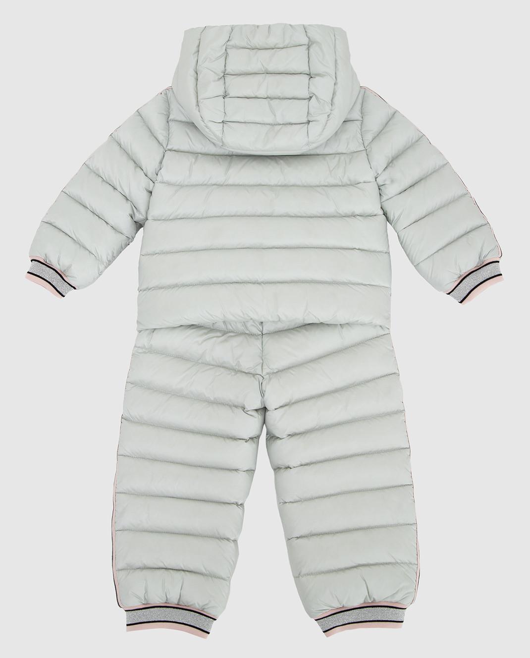Moncler ENFANT Детский светло-серый пуховой костюм изображение 2