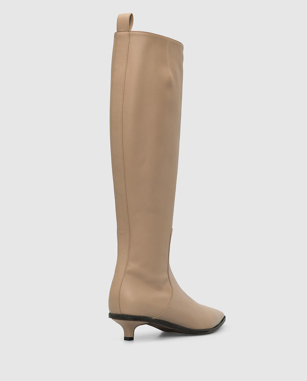 Brunello Cucinelli Бежевые кожаные сапоги изображение 4