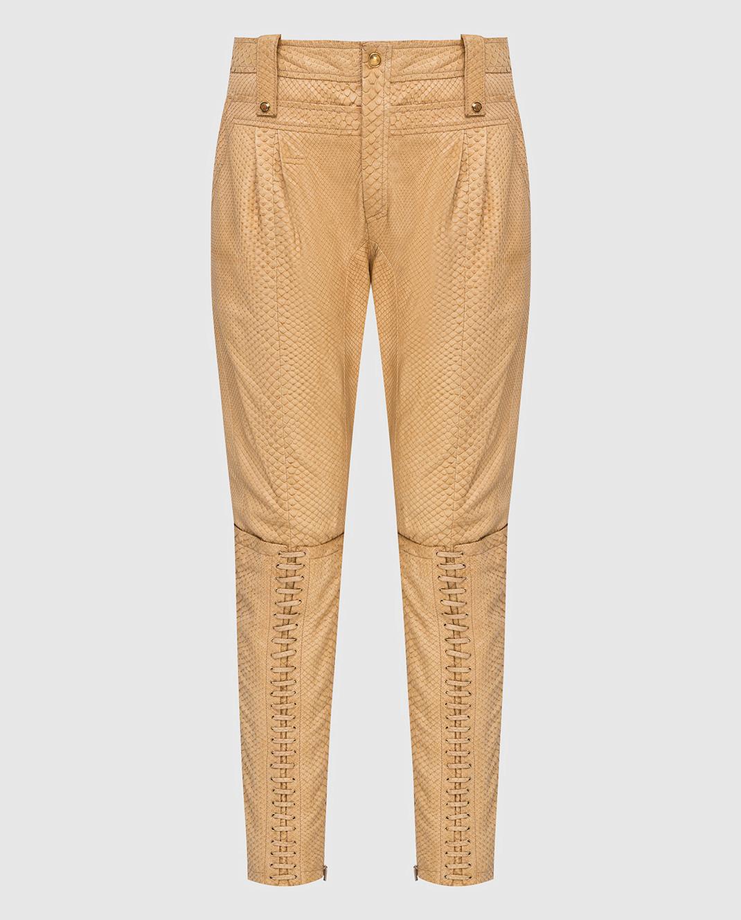 Gucci Бежевые брюки из кожи питона изображение 1