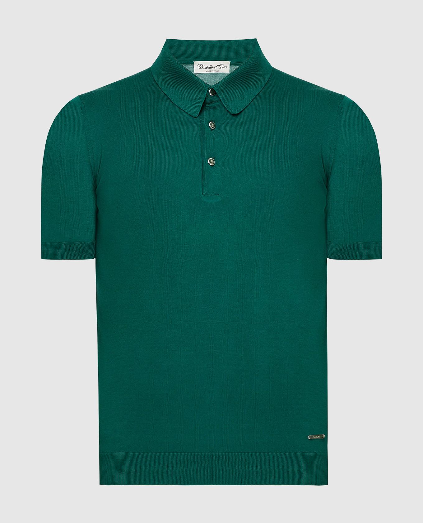 Зеленое поло из шелка