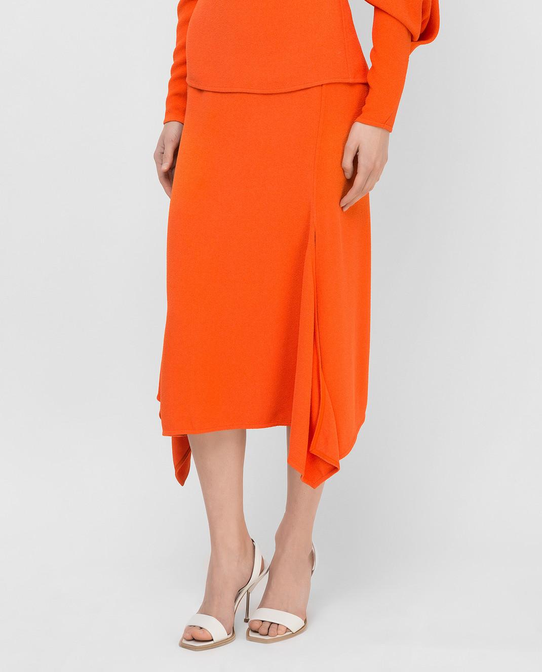 Victoria Beckham Оранжевая юбка SKMID3315 изображение 3