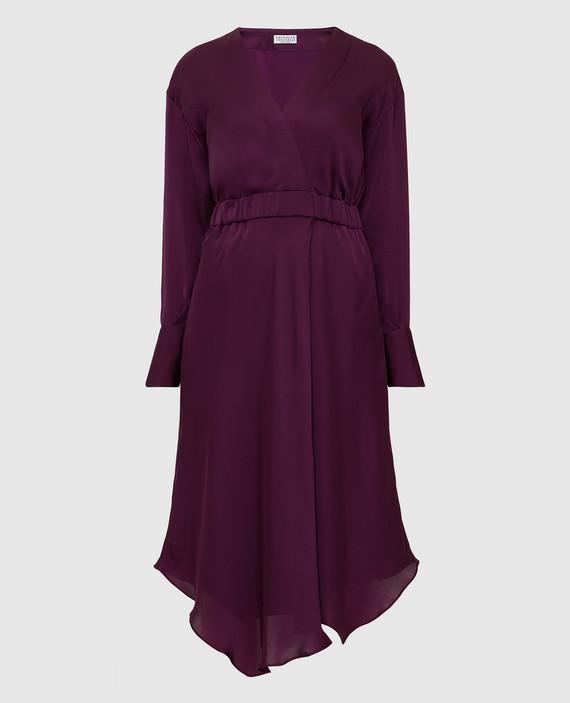 Фиолетовое платье из шелка