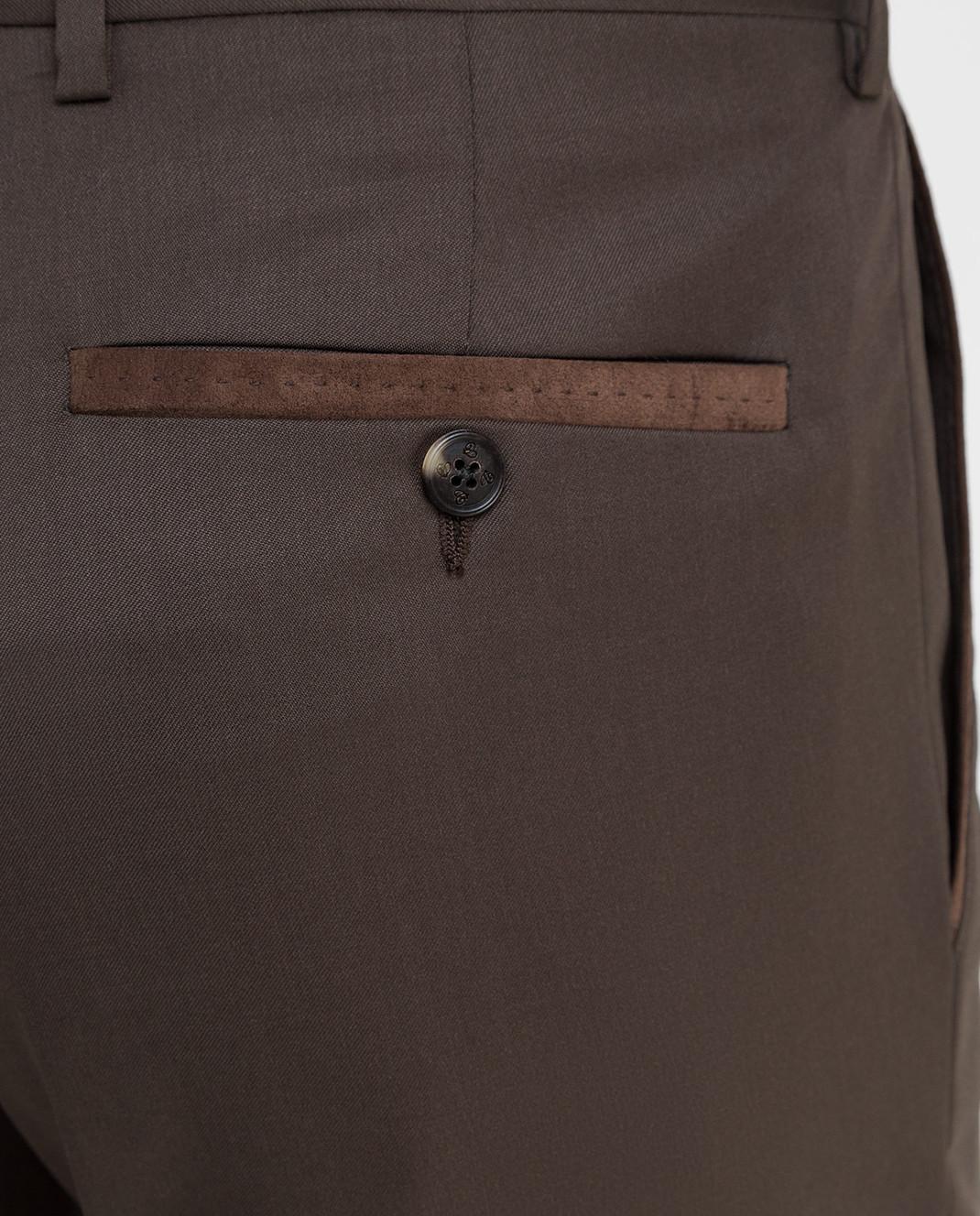Castello d'Oro Темно-коричневые брюки из шерсти изображение 5