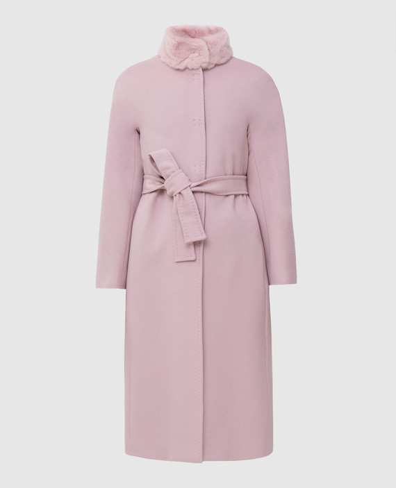 Пудровое пальто из шерсти с мехом норки