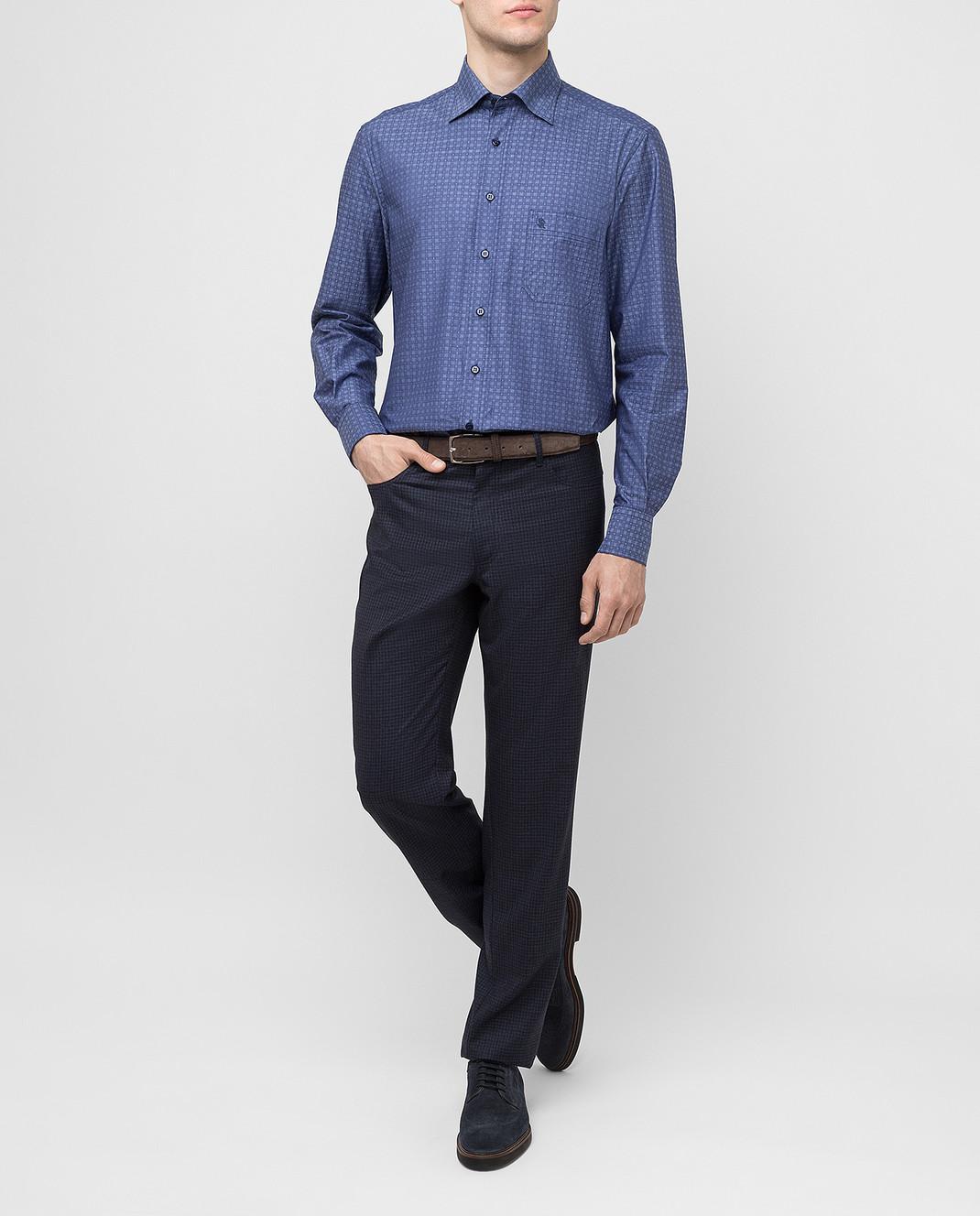 Stefano Ricci Темно-синие брюки из шерсти изображение 2