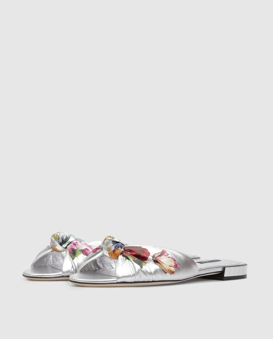 Dolce&Gabbana Серебристые кожаные шлепанцы изображение 3